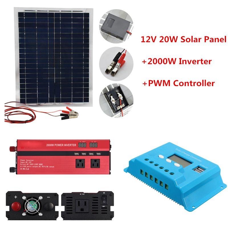 12 v 20 watt Solar System Kit Solar Panel mit 20A Controller 12 v 24 v Inverter Semi Flexible Solar batterie für Auto Notfall Lichter