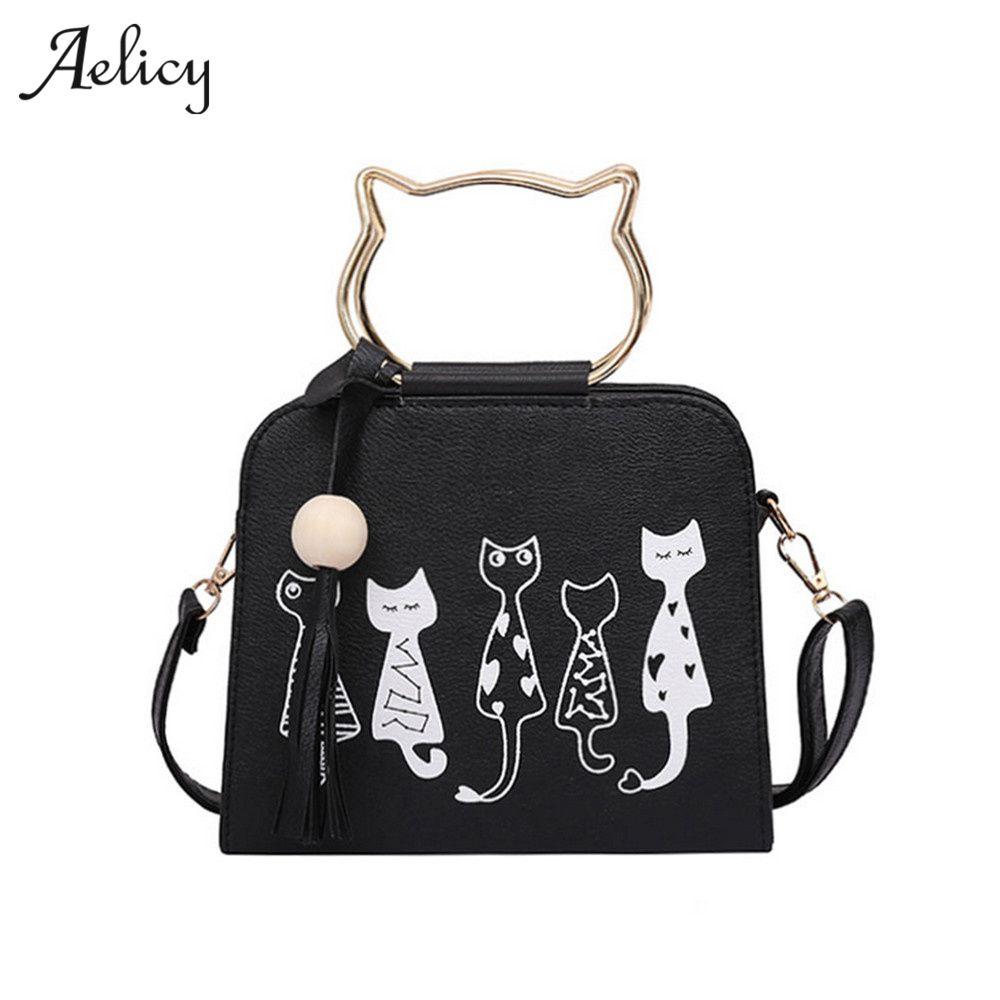 Aelicy 4 Colors Famous Design lovely women's PU Leather Flap Bags female cute Cat Messenger handbags Bolsa Feminina 1010