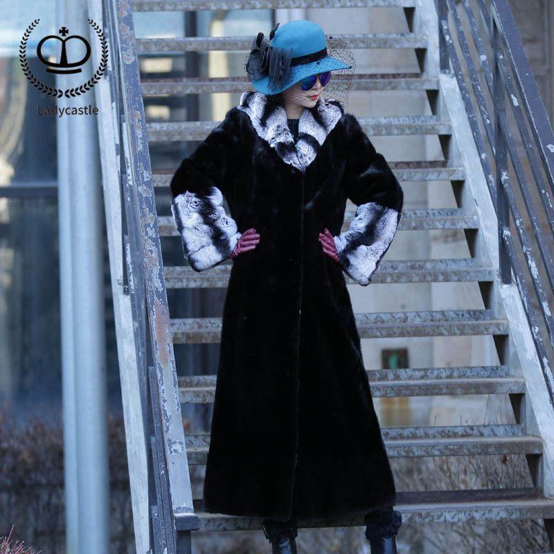 2018 neue Echt Chinchilla Rex Kaninchen Pelz Mantel Voll Pelt Mit Haube Natürliche Lange Mantel Frauen Kaninchen Pelz Jacke Echte winter RB-045