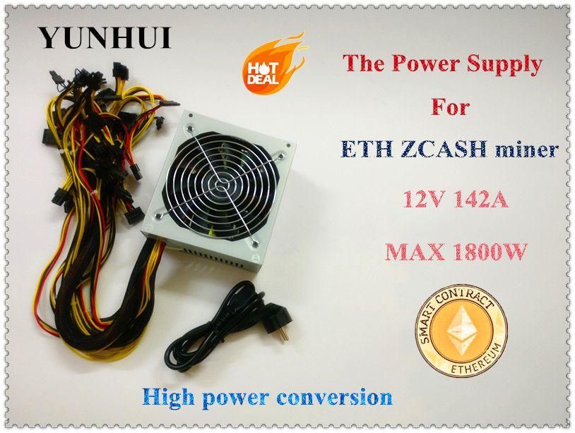 YUNHUI ETH ZCASH SC MINER Gold POWER 1800W BTC power supply for RX 470 /570 RX480/580 6 GPU CARDS