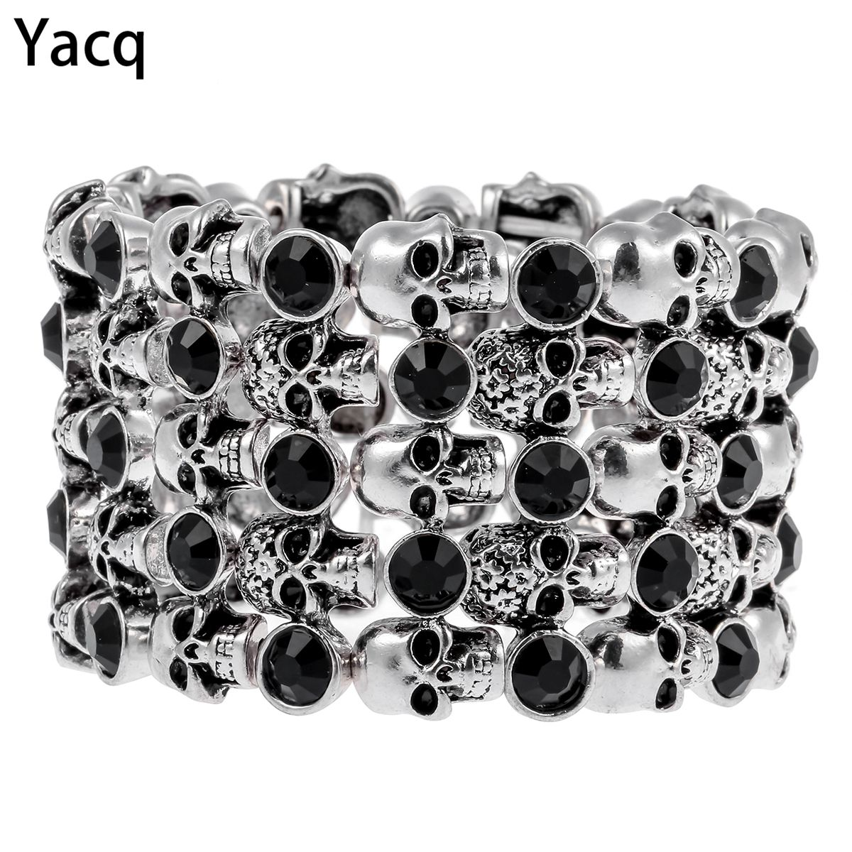YACQ Skull Skeleton Stretch Cuff Bracelet for Women Biker <font><b>Bling</b></font> Crystal Jewelry Antique Silver Color Wholesale Dropshipping D07