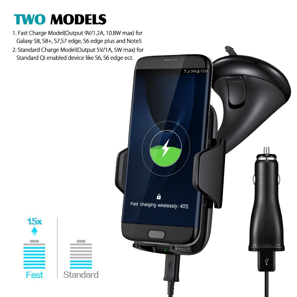 Newest Qi Car Holder Fast Wireless Car Charger Qi Wireless Fast Charger For Samsung Galaxy S8 S7 S6 Edge Plus HTC LG for Iphone
