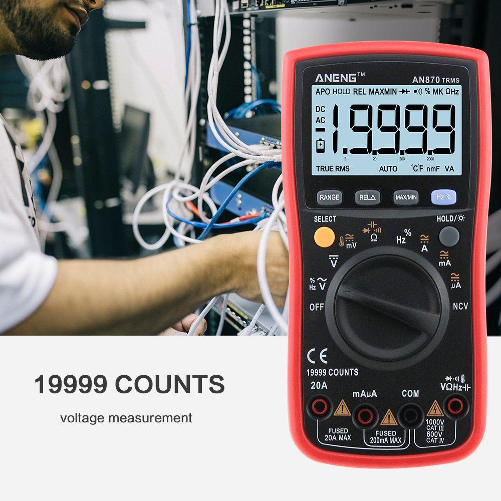 ANENG 870 rouge Multimètre multimeter multimetre digital professionel мультиметр multi meter Numérique 19999 points Rétro-Éclairage AC/DC Ampèremètre Voltmètre Ohm pince Crocodile cavalier test lead