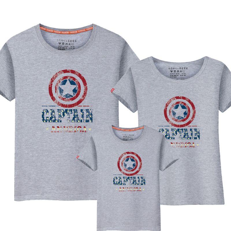 1 pièces famille Look décontracté américain Captian Design t-shirts été famille correspondant tissu père mère enfants tenue coton t-shirts