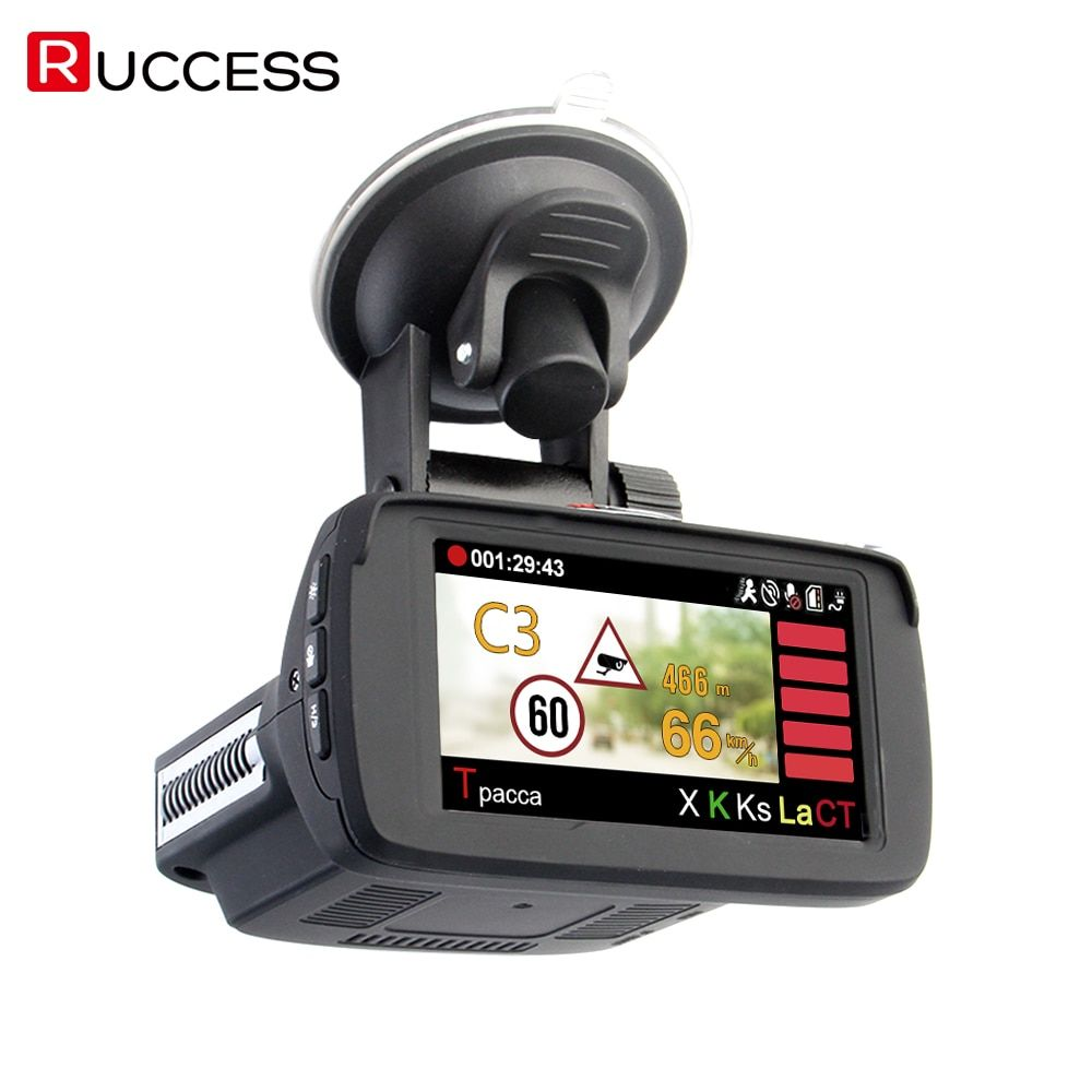 RUCCESS Radar Detectors 3 In 1 CAR DVR GPS Camera Logger Dash Cam Radar Detector for Russia Laser 2017 Ambarella 1080p Detector