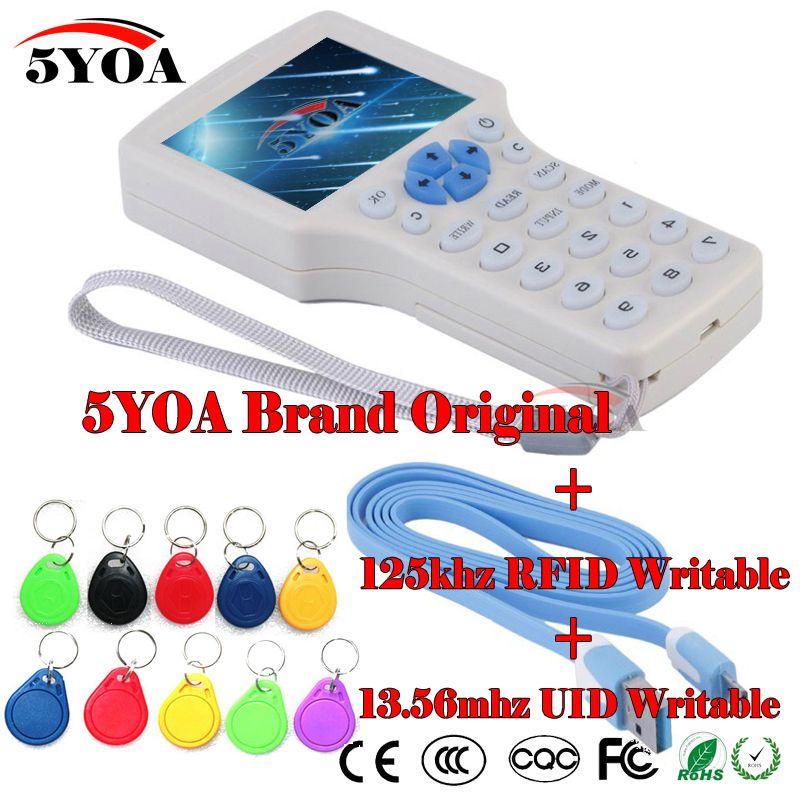 RFID Copier Reader Writer em4305 Tag Key Card 10 frequency ID IC copy M1 13.56MHZ encrypted Duplicator Programmer USB NFC UID