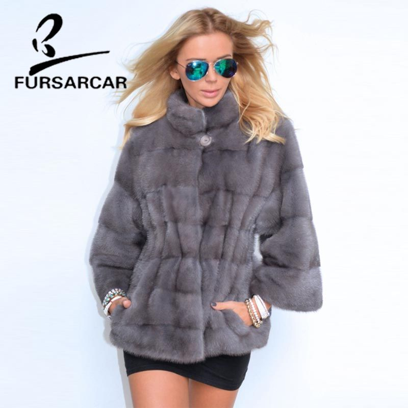 FURSARCAR 2018 New Real Fur Coats Women Detachable Sleeve Cuff Winter Jacket With Fur Collar Female Luxury Mink Fur Coat