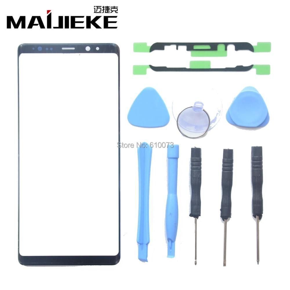 MAIJIEKE Black Screen Outer Glass Lens Replacement for Samsung Note 8 Front Screen Glass Lens with Adhesive Repair Kits