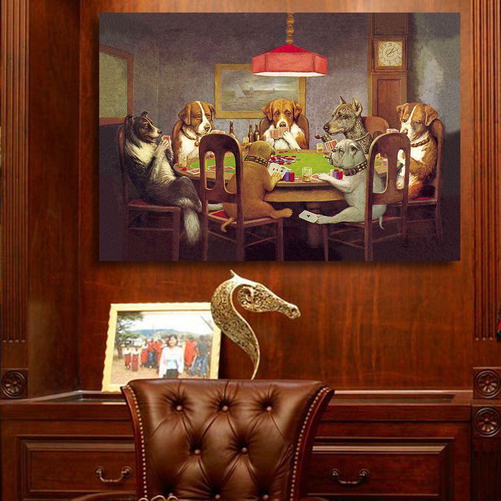 QKART peinture à l'huile Art mural impressions sur toile chiens jouant au Poker pas d'images murales d'animaux encadrées pour affiches et impressions de salon