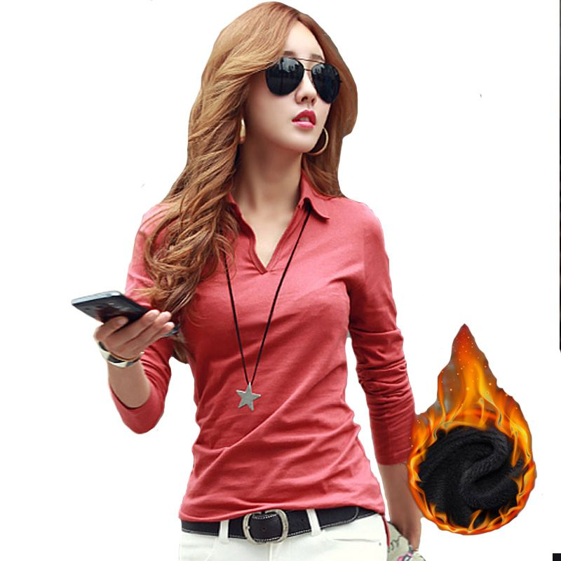 Winter Warm Casual Polo Women 2017 Long Sleeve Slim Polos Mujer Black White Gray Red Autumn Tops Womens Polo Shirt Femme A728