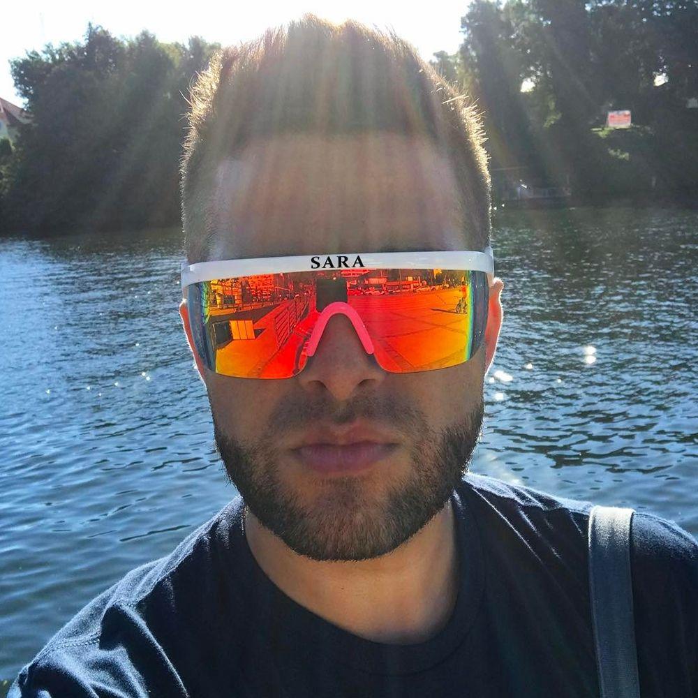 SARA Sports de plein air lunettes de soleil coupe-vent homme revêtement réfléchissant lunettes miroir grandes lunettes Surround avec lunettes de nez antidérapantes CE