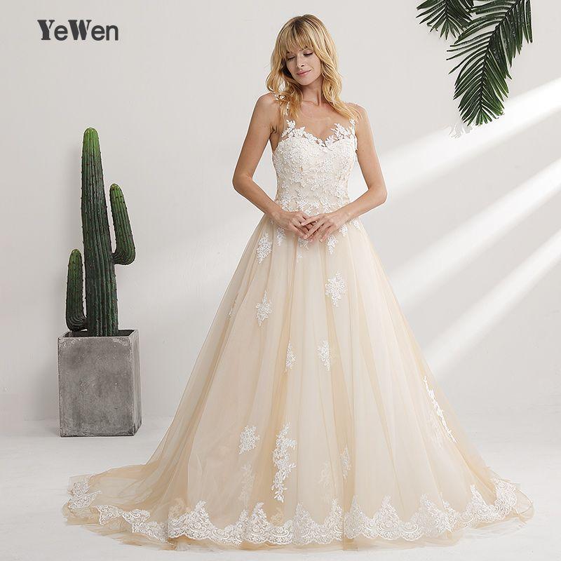 Vestido de noiva longo New Design 2018 Wedding Dress Scoop Neck Sleeveless Chapel Train Ball Gown Lace Tulle Bridal Gowns
