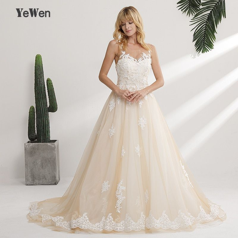 Vestido de noiva longo New Design 2018 Wedding Dress Scoop Neck Sleeveless Chapel Train Ball Gown Lace Tulle Bridal Gowns