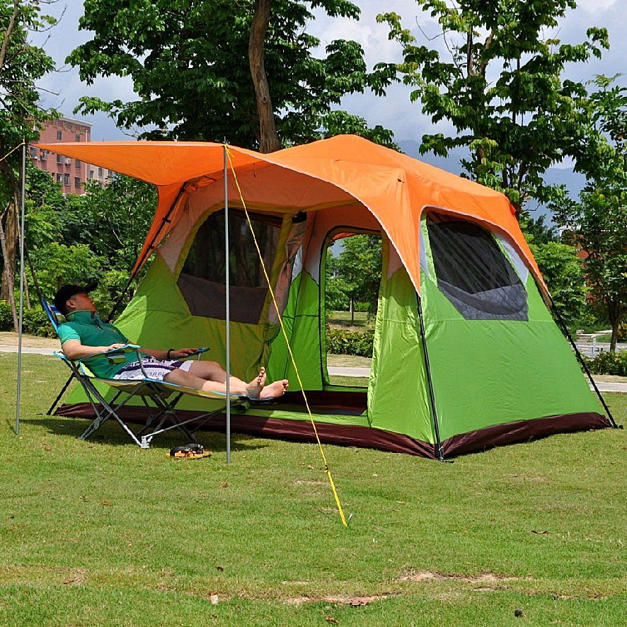 Alltel 5-8 people camping out door four seasons automatic tent double doors single hall
