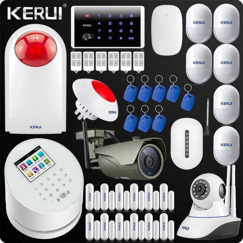 W2 WiFi GSM PSTN RFID Security Alarm System Signal Repeater IP Camera ISO Android Alarm Flash Siren Keyboard Vibration Detector