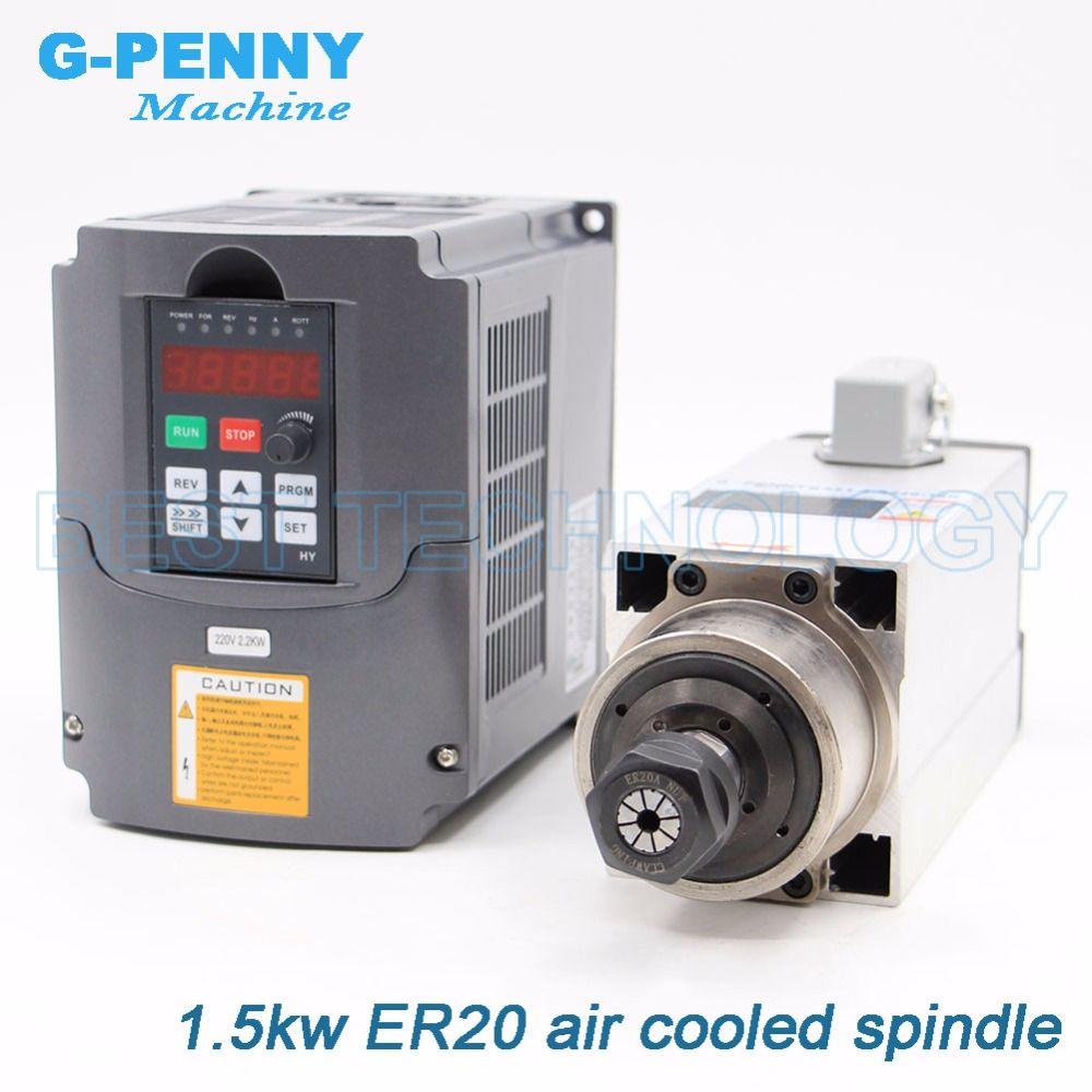 Neue Ankunft! 1.5kw Quadrat Luftgekühlten Spindel motor kit luftkühlung 4 stücke lager 0,01mm genauigkeit & 2.2kw HY inverter/ VFD