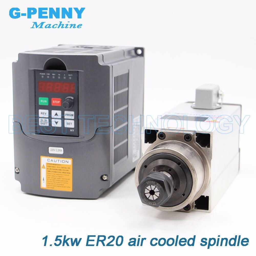 New Arrival! 1.5kw Square Air Cooled Spindle motor kit air cooling 4 pcs bearings 0.01mm accuracy & 2.2kw HY inverter / VFD