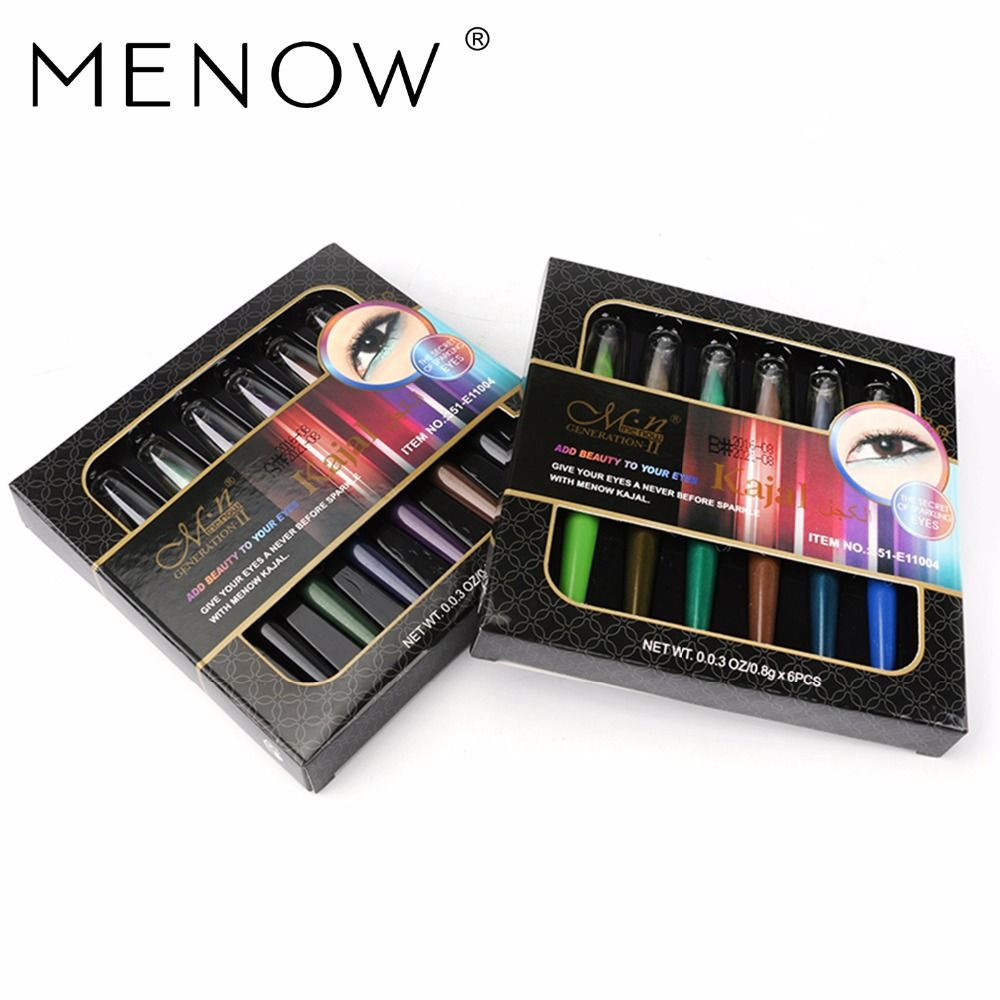 Menow Marca Colores A Prueba de agua A Largo Plazo De Alto Brillo Sombra de Ojos Pen Set 6 Color de una caja de Sombra de Ojos Pen maquillaje set E11004