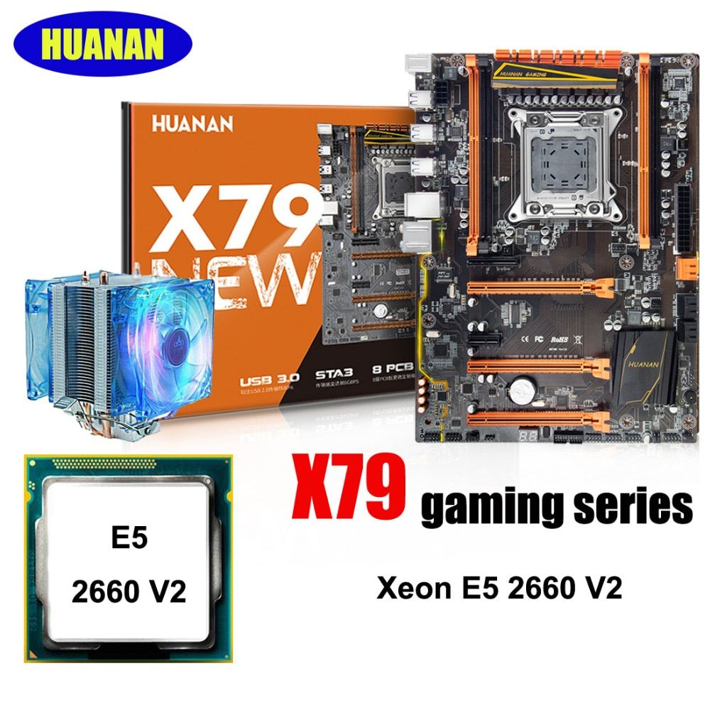 HUANAN X79 deluxe gaming motherboard CPU combos with CPU cooler X79 LGA2011 motherboard processor Xeon E5 2660 V2 all tested
