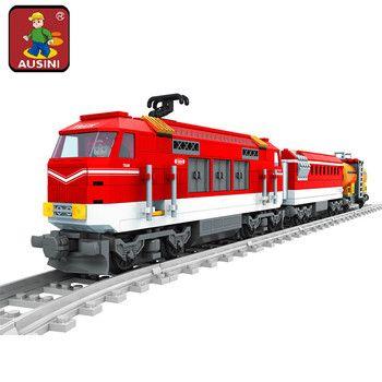 AUSINI 588 pcs Ville Série Train avec Pistes Blocs de Construction Railroad Transport Enfants Modèle Briques Jouets brinquedos pour les enfants