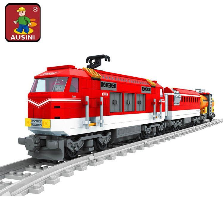AUSINI 588 pcs Ville Série Train avec des Pistes Blocs De Construction Ferroviaire Transport Enfants Briques Jouets brinquedos pour enfants