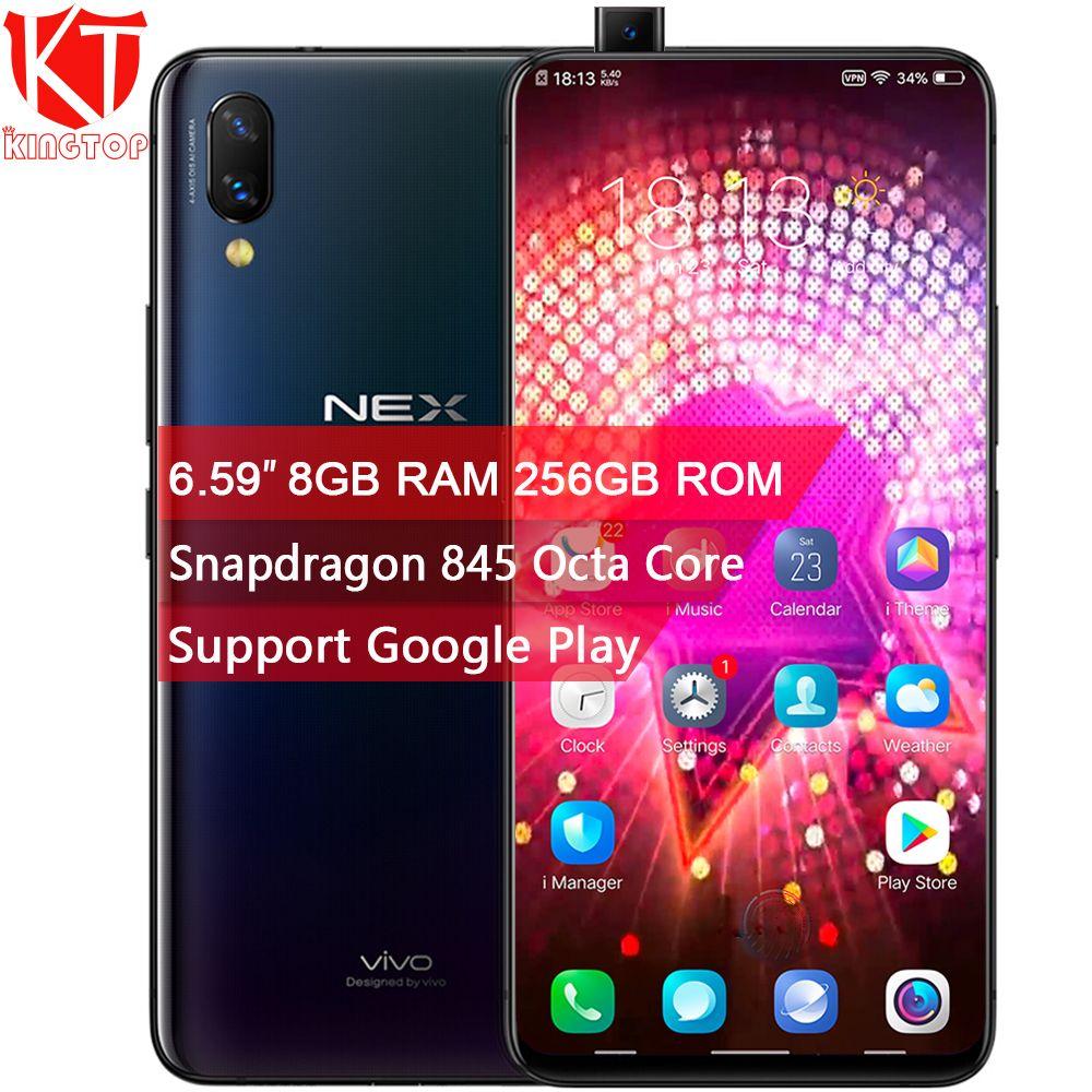 Original VIVO NEX Mobile Phone 8GB RAM 256GB ROM Screen Fingerprint 6.59'' Full Screen Snapdragon845 Octa Core Dual Camera Phone