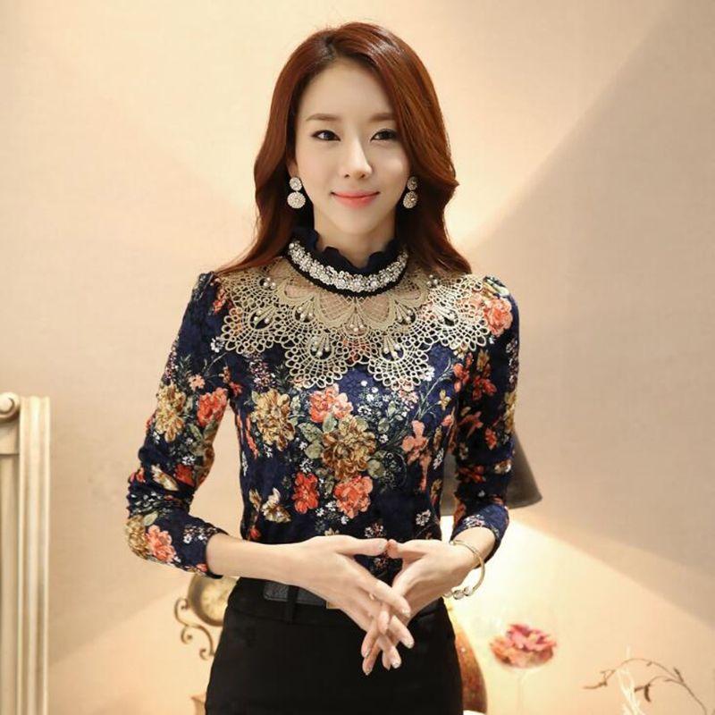 Dentelle Blouse chemise manches longues chemises 2017 Blusa coréen élégant perle fleur Laciness dames hauts bureau femmes vêtements