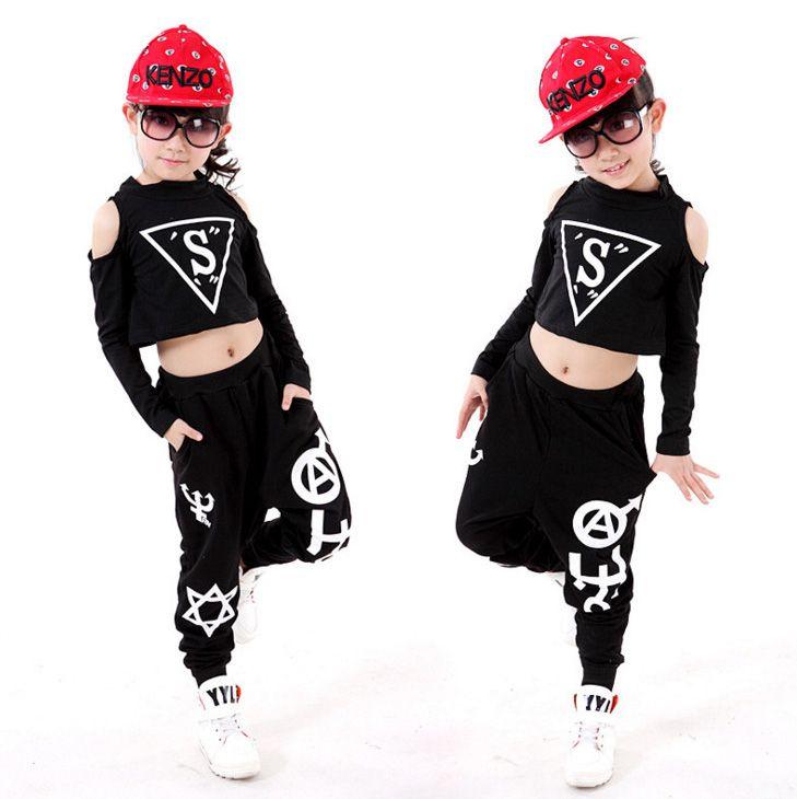 Детские черные Костюмы для бальных танцев Современный Джаз Хип-хоп танца Конкурс костюмы комплект рубашка топы, штаны для Обувь для девочек...