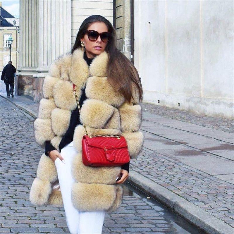 FURSARCAR 80 cm Lange Luxus Echtpelz Mantel 2018 Neue Winter Dicke Frauen Reale Natürliche Fox Pelz Jacke Mit Pelz kragen