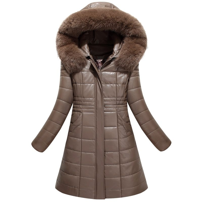 Best quality 2017 winter leather coat female medium long parka jacket hooded large fur collar leather clothing Plus Size L-8XL