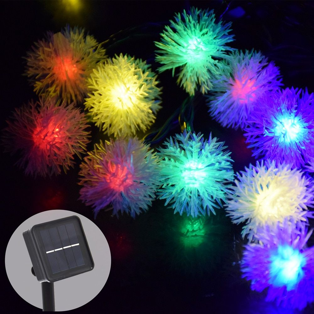 Solar 30Led 8Mode Snowball String Fairy Lights Outdoor Solar Power Lights For Parties Holiday <font><b>Garden</b></font> Decoration Waterproof
