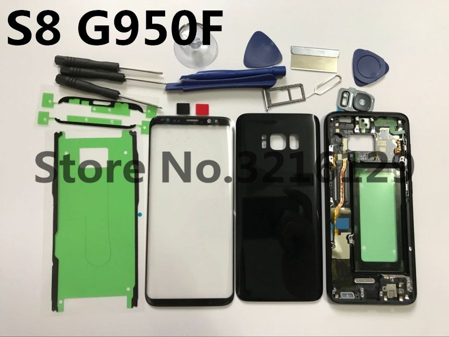 Original Full Housing Case Back Cover + Front Screen Glass Lens + Middle Frame For Samsung Galaxy S8 G950 G950F Replace all part