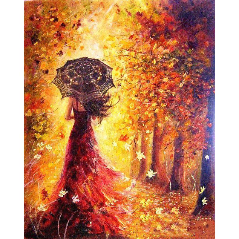 Peinture par numéros bricolage livraison directe 40x50 60x75cm doré parapluie fille Figure toile mariage décoration Art image cadeau