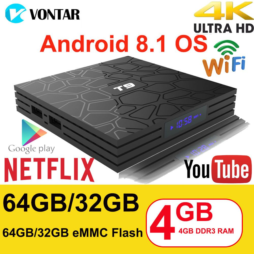 Android 8.1 TV Box VONTAR T9 4GB RAM 32GB/64GB Rockchip RK3328 1080P H.265 4K Google Player Store Netflix Youtube TVBOX pk Mi S