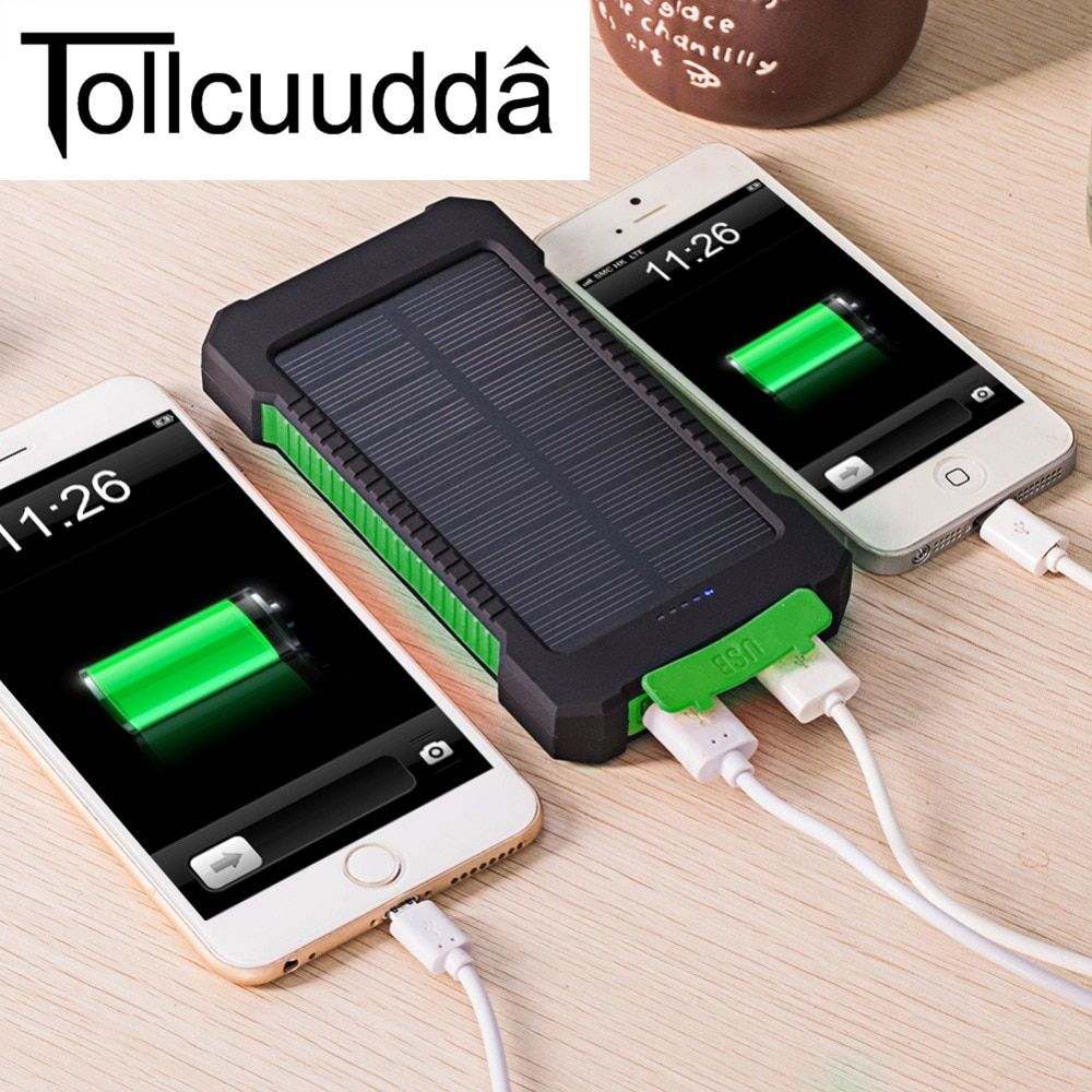Tollcuudda Waterproof 10000Mah Solar Power Bank Solar Charger Dual USB Power Bank with LED Light for <font><b>iPhone</b></font> 6 Plus Mobile Phone