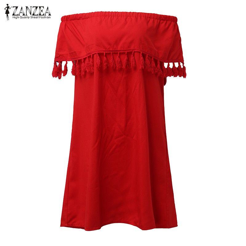 ZANZEA Femmes Slash Cou Épaule Hérisse Chemise Robe Glands Manches Courtes Solide Volant de Beach Party Mini Robe Plus La Taille