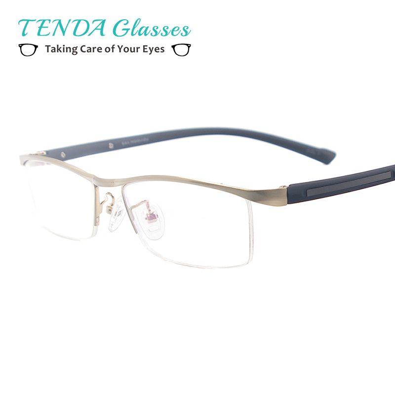 Metall Bunte Medium Brillen Rahmen Männer Halbrand Stirn Linie Spektakel Für Verschreibungspflichtige Myopie Linsen