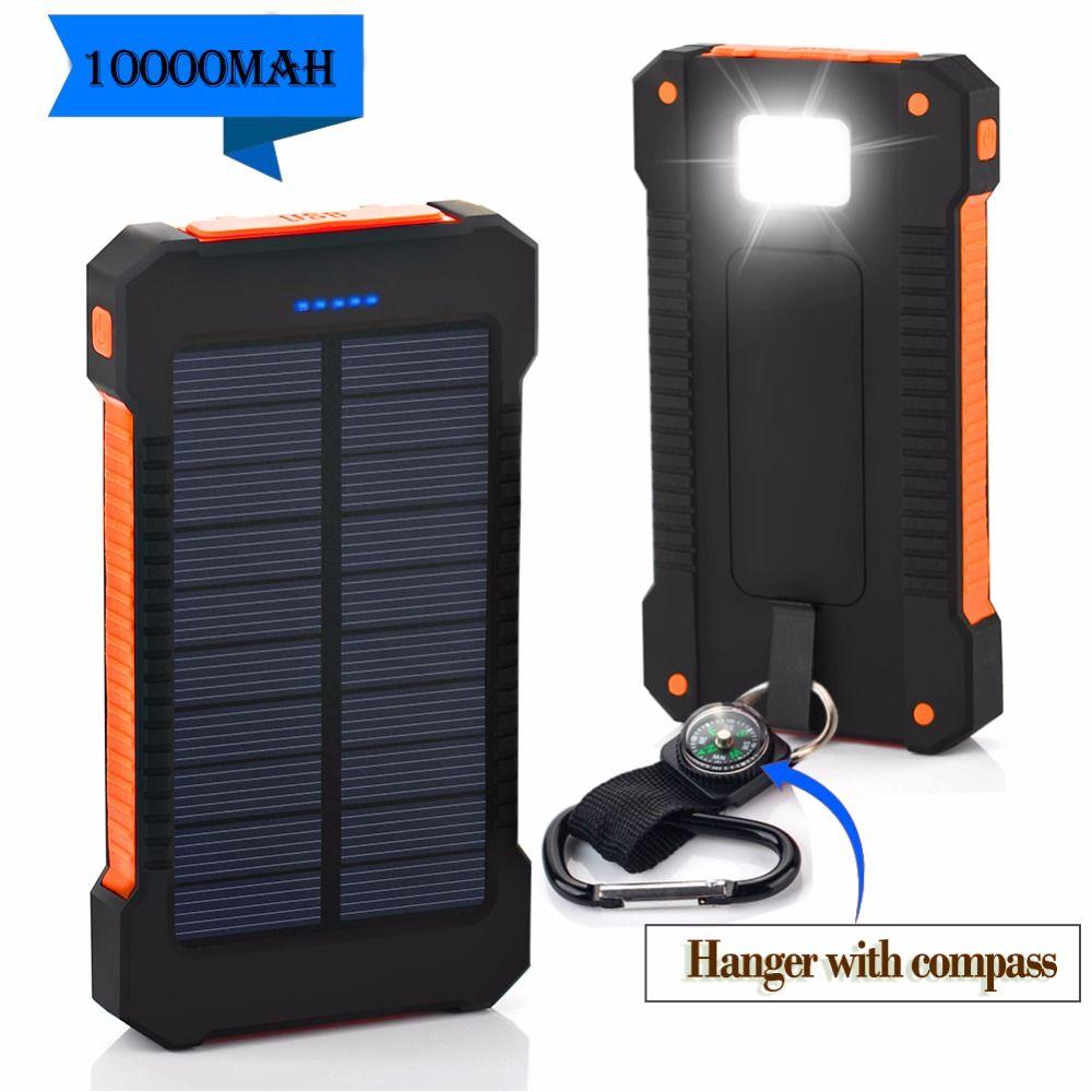 Top NOUVEAUX Étanche Solaire Power Bank 10000 mah Double USB Li-Polymère Solaire Batterie Chargeur Powerbank Voyage Avec un boussole LED lumière