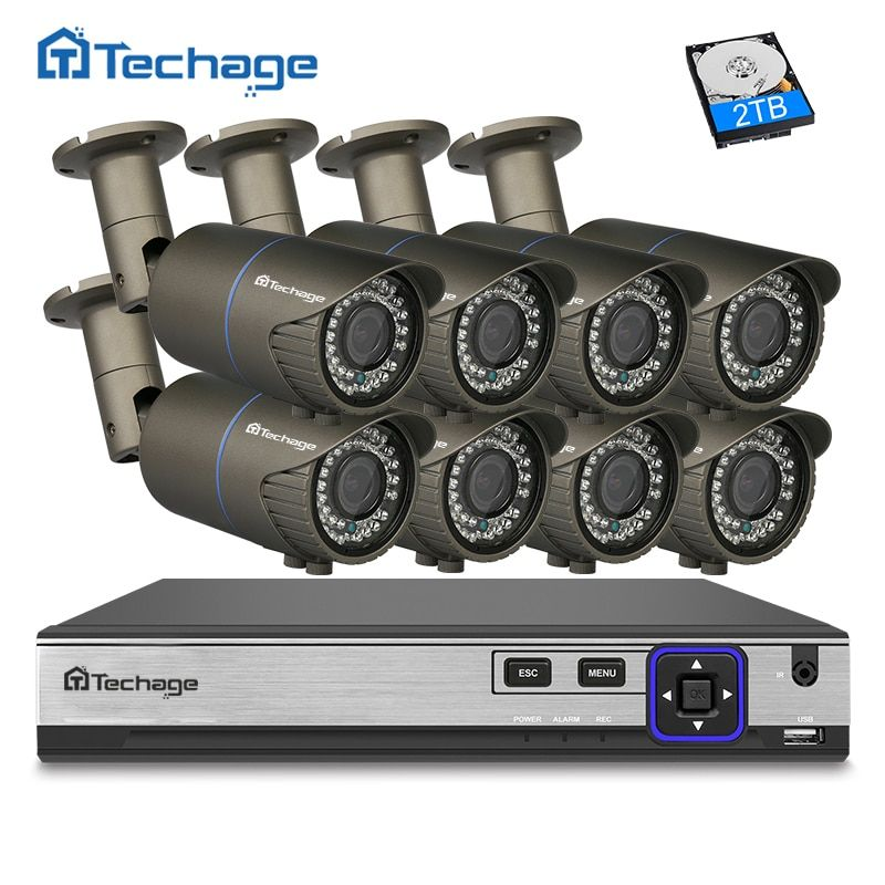 Techage H.265 8CH 4MP POE NVR CCTV System 2.8mm-12mm Varifocal Zoom lens IP Camera Outdoor Waterproof Security Surveillance Kit