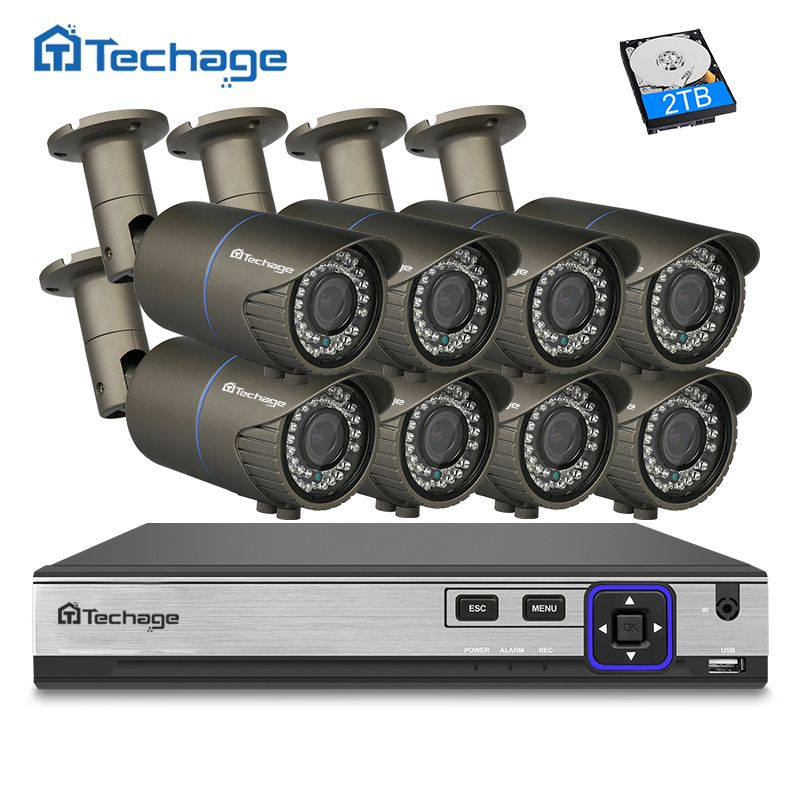 Techage H.265 8CH 4MP POE NVR CCTV System 2.8mm-12mm Varifocal Zoom lens IP Camera Outdoor Waterproof Security Surveillance Kit
