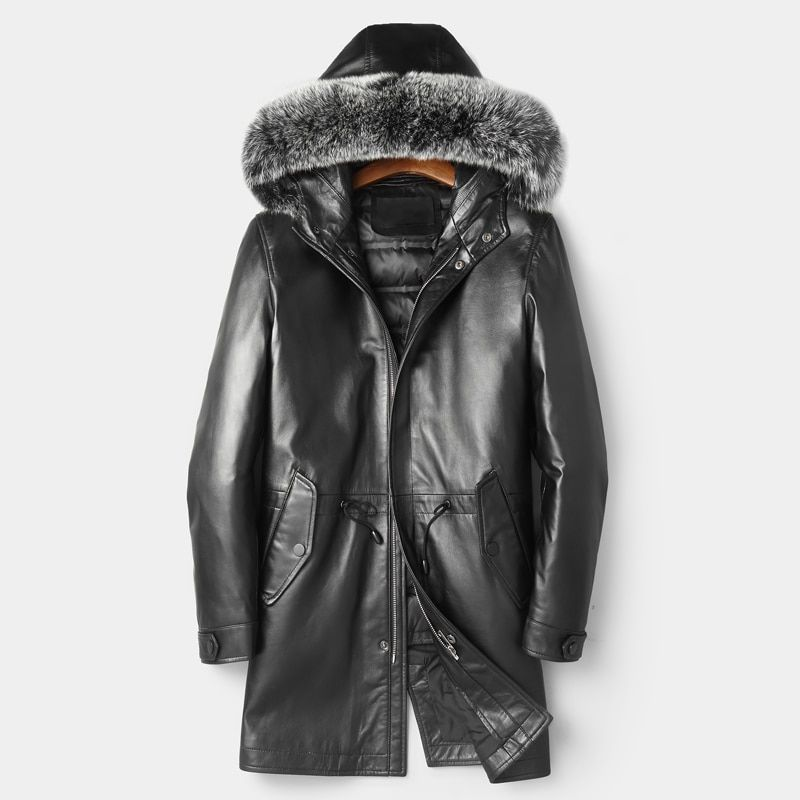High Quality Leather Coat Down Duck Feather Men Genuine Leather Coat Thick Warm Winter Long Leather Down Jackets Fox Fur Hooded