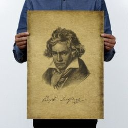 Musician Beethoven Vintage Kraft Paper Movie Poster Home School Office Wall Decoration  Art Magazines  Retro Posters and Prints