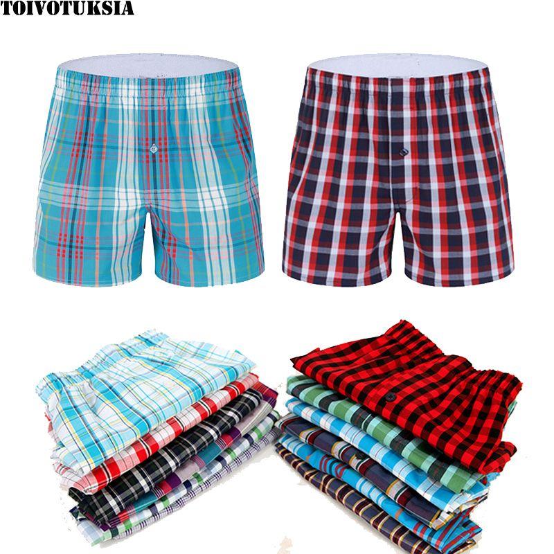 TOIVOTUKSIA Plaid hommes Boxer Shorts hommes sous-vêtements malles coton Cuecas sous-vêtements boxeurs pour Homme tissé Boxer flèche culotte