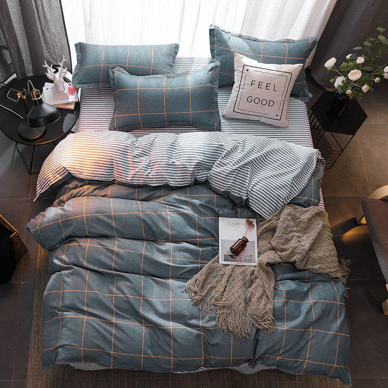 Valanorean Home Bedding Sets Lemon star stripes Soft duvet Cover Bed Set pillowcase King size Queen double Full 4pcs Twin 3pcs