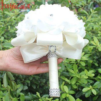 EN STOCK Moins Cher PE Rose de Demoiselle D'honneur De Mariage Mousse fleurs Rose bouquet De Mariée Ruban Faux bouquet De Mariage de noiva 14 Couleur