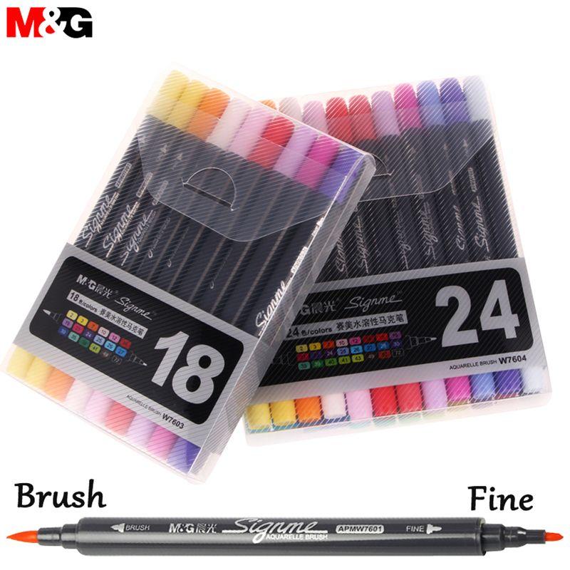 Nouveau 12/18/24 couleurs aquarelle pinceau stylo hydrosoluble couleur stylos aquarelle marqueurs pour Dessin professionnel pour Dessin Manga