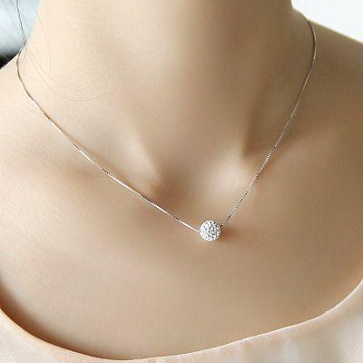S925 plata pura collar de cadena de la bola de cristal del diseño corto femenino elegante breve antialérgico