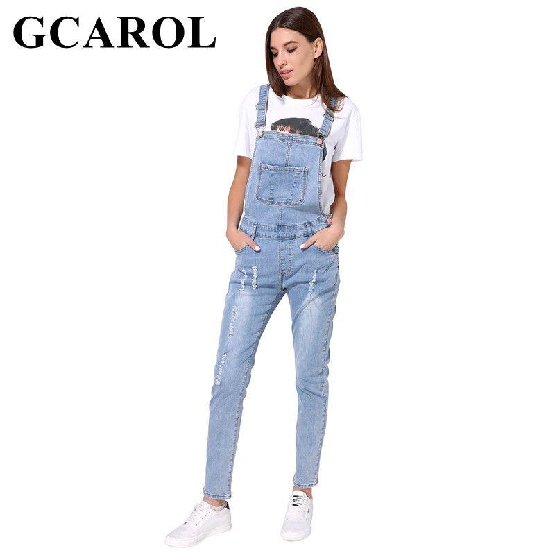 GCAROL New Arrival Women Ripped Denim Jumpsuits High Quality Braces cowboy Light Blue Basic Overall For 4 Season