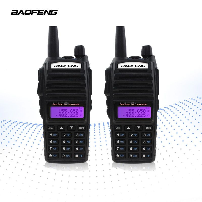2-PCS BAOFENG UV-82 Walkie Talkie 5W VHF UHF Handheld Transceiver Receiver CB Radios FM Dual PTT Ham Amateur Two Way Radio UV82