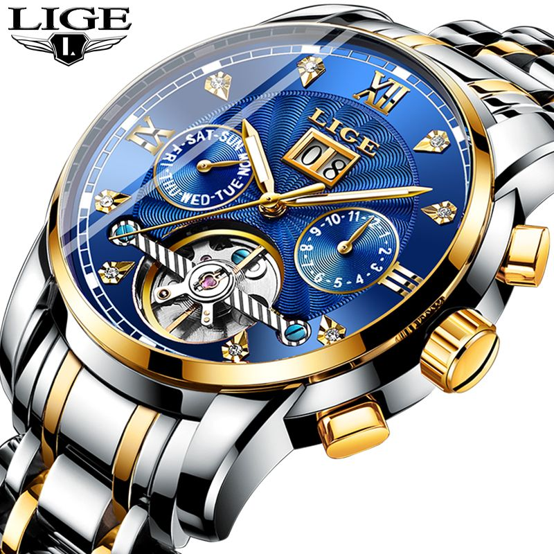 LIGE Männer Uhren Automatische Mechanische Uhr Mode Diamant Uhr Männliche Edelstahl Wasserdichte Uhr Männer Relogio Masculino
